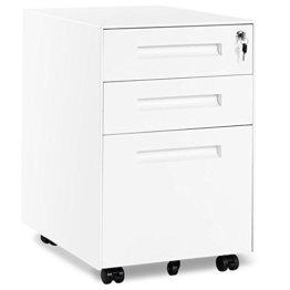 Rollcontainer, inkl. 3 Schübe, grundsolide Verarbeitung, optimal für Schreibtisch, Büromöbel, Schreibtisch Container, Rollkontainer Büro, Rollkontainer mit Schubladen, Hängeregistratur (Weiss B) - 1
