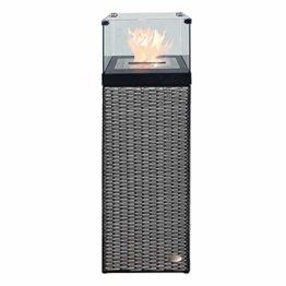 RS Trade Bio Ethanol Feuersäule Feuerschale Feuerstelle Feuerkorb Kamin Ofen für Garten und Terrasse aus Polyrattan passend zu Sonnenliege und Gartenmöbel Farbe Silber - 1
