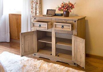 SAM Kommode Santa Fe, Mexico-Möbel, Sideboard aus Kiefernholz, Massivholz Gewachst, je Zwei Schubfächer & Türen, Wohnzimmer-Schrank - 3