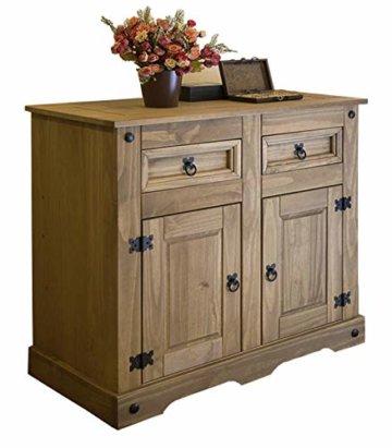 SAM Kommode Santa Fe, Mexico-Möbel, Sideboard aus Kiefernholz, Massivholz Gewachst, je Zwei Schubfächer & Türen, Wohnzimmer-Schrank - 1