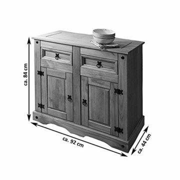 SAM Kommode Santa Fe, Mexico-Möbel, Sideboard aus Kiefernholz, Massivholz Gewachst, je Zwei Schubfächer & Türen, Wohnzimmer-Schrank - 6