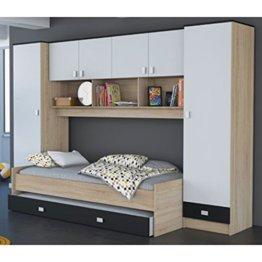 Schrankbett akazie grau / weiß / schwarz B 308 cm Jugendbett Wandbett Schrank Gästebett Jugendzimmer Kinderzimmer Gäste Studentenzimmer - 1