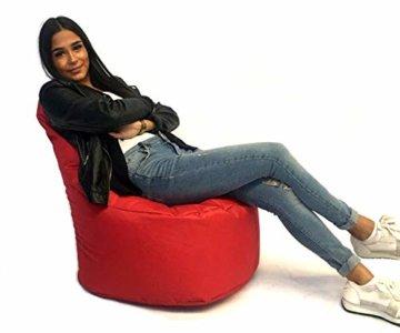 Sitzsack Sessel - für Kinder und Erwachsene - In & Outdoor Sitzsäcke Kissen Sofa Hocker Sitzkissen Bodenkissen mit Styropor Füllung Bean Bag Sitzsäcke Möbel Kissen (Rot) - 5