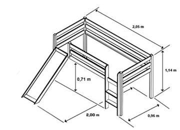 SixBros. Hochbett Kinderbett Spielbett mit Rutsche Massiv Kiefer Natur/Lackiert - Lila/Beige - SHB/11/1033 - 2