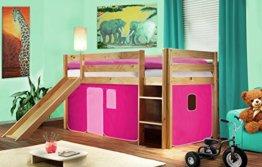 SixBros. Hochbett Kinderbett Spielbett mit Rutsche Massiv Kiefer Natur/Lackiert - Pink - SHB/17/1033 - 1