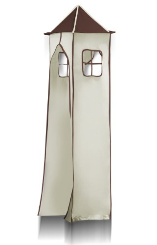 SixBros. Hochbett Kinderbett Spielbett mit Turm und Rutsche Massiv Kiefer Natur/Lackiert - Pirat Braun/Beige - SHB/65/1033 - 3