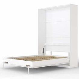 SMARTBett Basic 140x200 Vertikal Weiss Schrankbett | ausklappbares Wandbett, ideal geeignet als Wandklappbett fürs Gästezimmer, Büro, Wohnzimmer, Schlafzimmer - 1