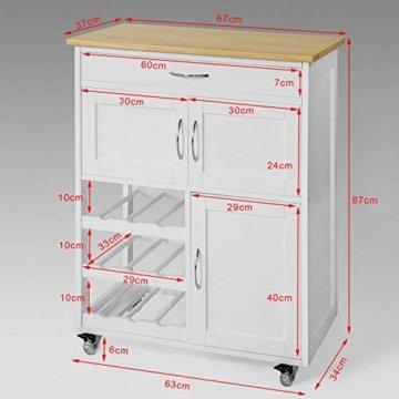 SoBuy® FKW45-WN Servierwagen mit Flaschenablagen und Schublade Küchenwagen Küchenschrank Rollwagen weiß-Natur BHT ca.: 67x87x37cm - 2