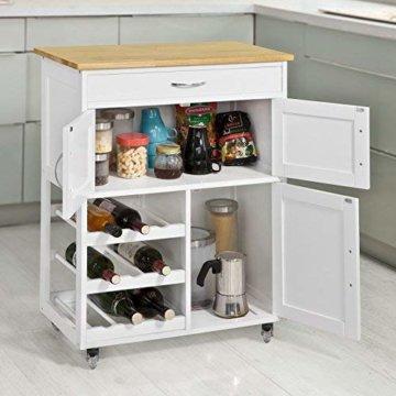 SoBuy® FKW45-WN Servierwagen mit Flaschenablagen und Schublade Küchenwagen Küchenschrank Rollwagen weiß-Natur BHT ca.: 67x87x37cm - 5