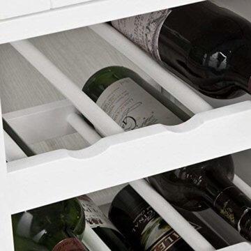 SoBuy® FKW45-WN Servierwagen mit Flaschenablagen und Schublade Küchenwagen Küchenschrank Rollwagen weiß-Natur BHT ca.: 67x87x37cm - 7