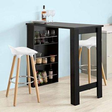 SoBuy FWT17-SCH Bartisch schwarz Küchentisch mit 3 Regalfächern Stehtisch Tresen Theke, BHT ca.: 112x106x57cm - 2