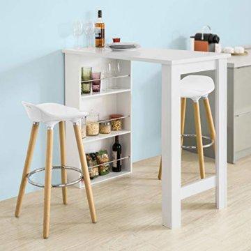SoBuy® FWT17-W Bartisch Beistelltisch Stehtisch Küchentheke Küchenbartisch mit 3 Regalfächern Tresen weiß BHT: 112x106,5x57cm - 2