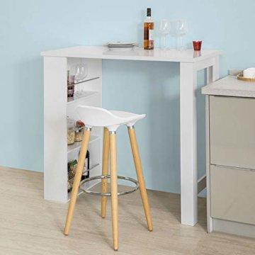 SoBuy® FWT17-W Bartisch Beistelltisch Stehtisch Küchentheke Küchenbartisch mit 3 Regalfächern Tresen weiß BHT: 112x106,5x57cm - 3