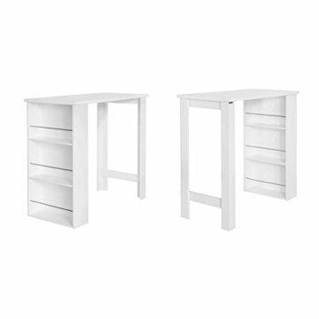 SoBuy® FWT17-W Bartisch Beistelltisch Stehtisch Küchentheke Küchenbartisch mit 3 Regalfächern Tresen weiß BHT: 112x106,5x57cm - 4