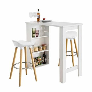 SoBuy® FWT17-W Bartisch Beistelltisch Stehtisch Küchentheke Küchenbartisch mit 3 Regalfächern Tresen weiß BHT: 112x106,5x57cm - 1