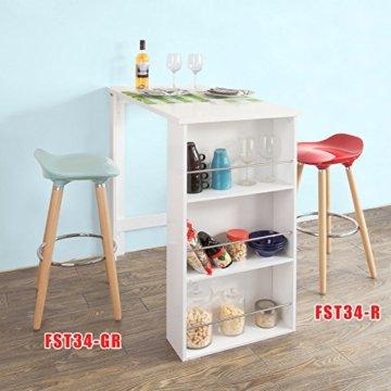 SoBuy® FWT17-W Bartisch Beistelltisch Stehtisch Küchentheke Küchenbartisch mit 3 Regalfächern Tresen weiß BHT: 112x106,5x57cm - 6