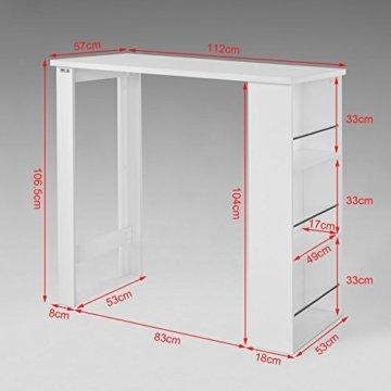 SoBuy® FWT17-W Bartisch Beistelltisch Stehtisch Küchentheke Küchenbartisch mit 3 Regalfächern Tresen weiß BHT: 112x106,5x57cm - 7