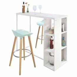 SoBuy® FWT39-W Bartisch Beistelltisch Stehtisch Küchentheke Küchenbartisch mit 3 Regalfächern, weiß, BHT ca: 120x105x49cm - 1