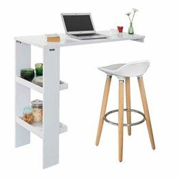 SoBuy FWT55-W Design Bartisch Stehtisch Bartresen Bistrotisch Esstisch Küchentisch mit 2 Regalfächern weiß BHT ca.: 120x106x45cm - 1