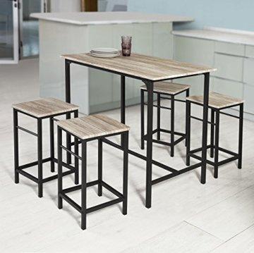 SoBuy® OGT11-N Bartisch Set 5-teilig Esstisch Stehtisch Bistrotisch mit 4 Stühlen Sitzgruppe - 2
