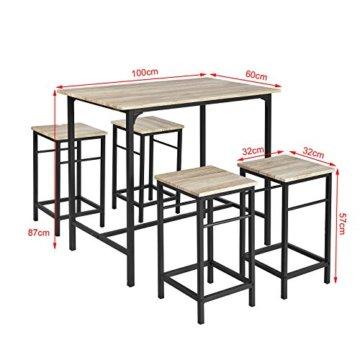 SoBuy® OGT11-N Bartisch Set 5-teilig Esstisch Stehtisch Bistrotisch mit 4 Stühlen Sitzgruppe - 3