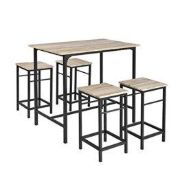 SoBuy® OGT11-N Bartisch Set 5-teilig Esstisch Stehtisch Bistrotisch mit 4 Stühlen Sitzgruppe - 1