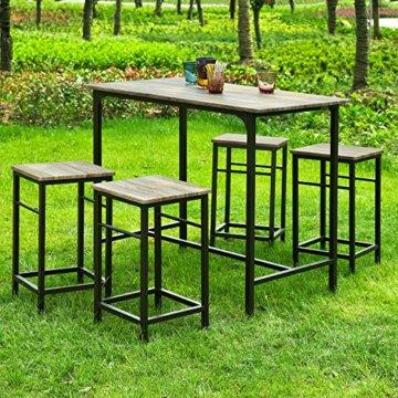 SoBuy® OGT11-N Bartisch Set 5-teilig Esstisch Stehtisch Bistrotisch mit 4 Stühlen Sitzgruppe - 4