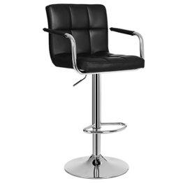 SONGMICS 1 x Barhocker Stuhl Barstuhl mit Armlehnen und Lehne Belastbar bis 200 kg Schwarz LJB93B-1 - 1