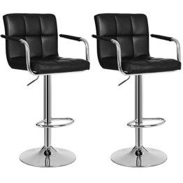SONGMICS 2 x Barhocker Stuhl Barstuhl mit Armlehnen und Lehne Belastbar bis 200 kg Schwarz LJB93B - 1