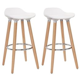 SONGMICS 2er-Set Barhocker Sitzhöhe 73 cm Tresenhocker Beine aus Buche Sitzschale aus Kunststoff Weiß LJB20W - 1