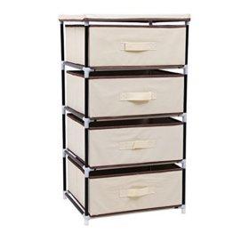 SONGMICS Aufbewahrung Kommode Garderoben mit 4 Schubladen Schubladenschrank Stoffschrank Campingschrank 45 x 84,5 x 38 cm (B x H x T) Beige RLG14M - 1