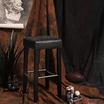 SONGMICS Barhocker 2er Set, gepolsterter Barstuhl, Sitzhöhe 72 cm, Stuhlbeine aus Massivholz, mit Fußstütze, braun, LDC33BR - 3