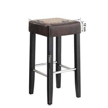SONGMICS Barhocker 2er Set, gepolsterter Barstuhl, Sitzhöhe 72 cm, Stuhlbeine aus Massivholz, mit Fußstütze, braun, LDC33BR - 4