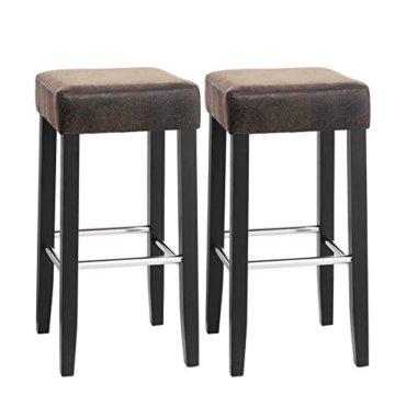 SONGMICS Barhocker 2er Set, gepolsterter Barstuhl, Sitzhöhe 72 cm, Stuhlbeine aus Massivholz, mit Fußstütze, braun, LDC33BR - 1