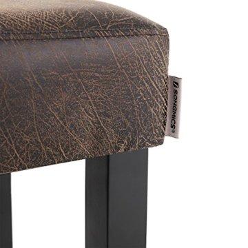 SONGMICS Barhocker 2er Set, gepolsterter Barstuhl, Sitzhöhe 72 cm, Stuhlbeine aus Massivholz, mit Fußstütze, braun, LDC33BR - 8