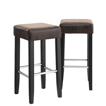 SONGMICS Barhocker 2er Set, gepolsterter Barstuhl, Sitzhöhe 72 cm, Stuhlbeine aus Massivholz, mit Fußstütze, braun, LDC33BR - 9