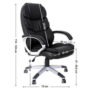 SONGMICS Bürostuhl Chefsessel höhenverstellung schwarz OBG24B - 5