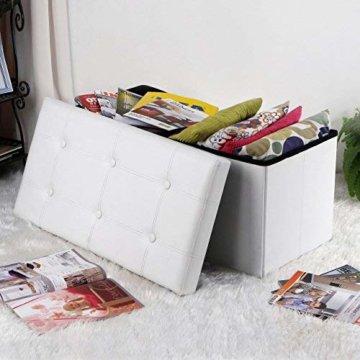 SONGMICS Faltbare Sitzbank, Sitztruhe mit 80 L Stauraum, bis 300 kg belastbar, Kunstleder, Weiß LSF106 - 2