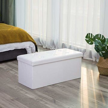 SONGMICS Faltbare Sitzbank, Sitztruhe mit 80 L Stauraum, bis 300 kg belastbar, Kunstleder, Weiß LSF106 - 3