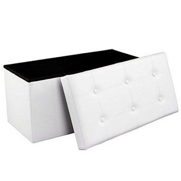 SONGMICS Faltbare Sitzbank, Sitztruhe mit 80 L Stauraum, bis 300 kg belastbar, Kunstleder, Weiß LSF106 - 1