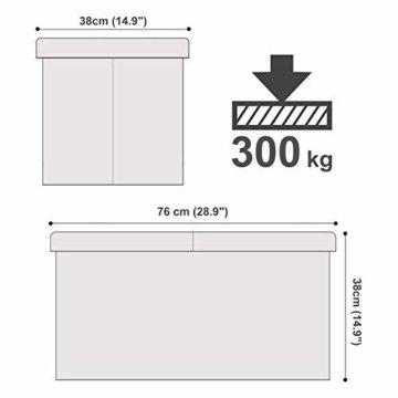 SONGMICS Faltbare Sitzbank, Sitztruhe mit 80 L Stauraum, bis 300 kg belastbar, Kunstleder, Weiß LSF106 - 6