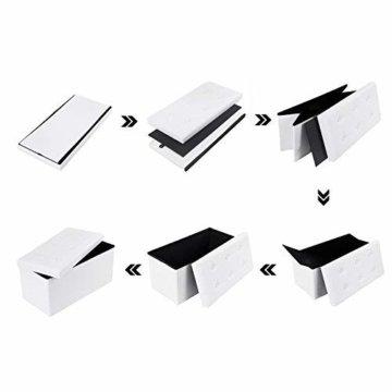 SONGMICS Faltbare Sitzbank, Sitztruhe mit 80 L Stauraum, bis 300 kg belastbar, Kunstleder, Weiß LSF106 - 8