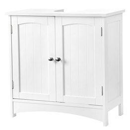 SONGMICS VASAGLE Waschbeckenunterschrank Unterschrank Badezimmerschrank 2 Türen mit Verstellbarer Einlegeboden BBC01WT, Holz, Weiß, 60 x 60 x 30 cm (B x H x T) - 1