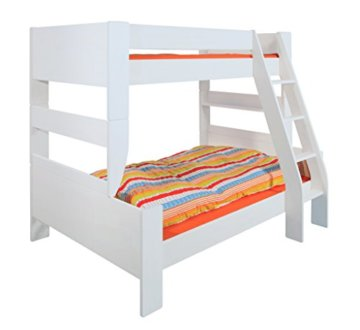 Steens 2916360050001N For Kids Kinderbett, Etagenbett, 145 x 206 x 164 cm, inkl. Lattenrost und Absturzsicherung, Liegeflächen 90 x 200 cm & 120 x 200 cm, MDF, weiß - 1