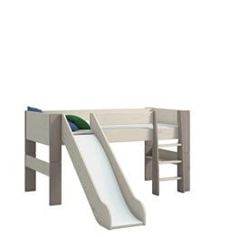 Steens For Kids Kinderbett, Hochbett, inkl. Absturzsicherung und Leiter, Liegefläche 90 x 200 cm, Kiefer massiv, weiß grau - 1