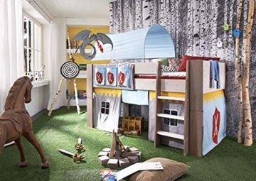 Steens For Kids  Kinderbett, Hochbett, inkl. Lattenrost und Absturzsicherung, Liegefläche 90 x 200 cm, Kiefer massiv, weiß,grau - 2