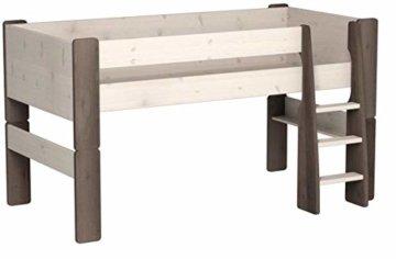 Steens For Kids  Kinderbett, Hochbett, inkl. Lattenrost und Absturzsicherung, Liegefläche 90 x 200 cm, Kiefer massiv, weiß,grau - 3