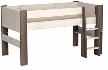 Steens For Kids  Kinderbett, Hochbett, inkl. Lattenrost und Absturzsicherung, Liegefläche 90 x 200 cm, Kiefer massiv, weiß,grau - 4
