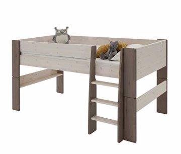 Steens For Kids  Kinderbett, Hochbett, inkl. Lattenrost und Absturzsicherung, Liegefläche 90 x 200 cm, Kiefer massiv, weiß,grau - 1