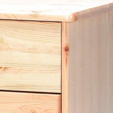 Steens Mario Kommode, 3 breite, 2 kleine Schubladen, 78 x 73 x 34 cm (B/H/T), Kiefer massiv, natur lackiert - 3